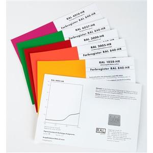 RAL(劳尔)色卡 840-HR校准页&原标准色彩带LAB色差值(半光泽版本) 单页订购