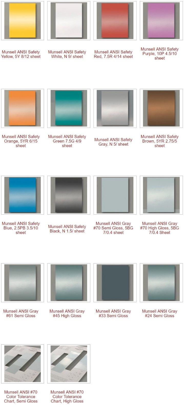 Munsell ANSI color Standards